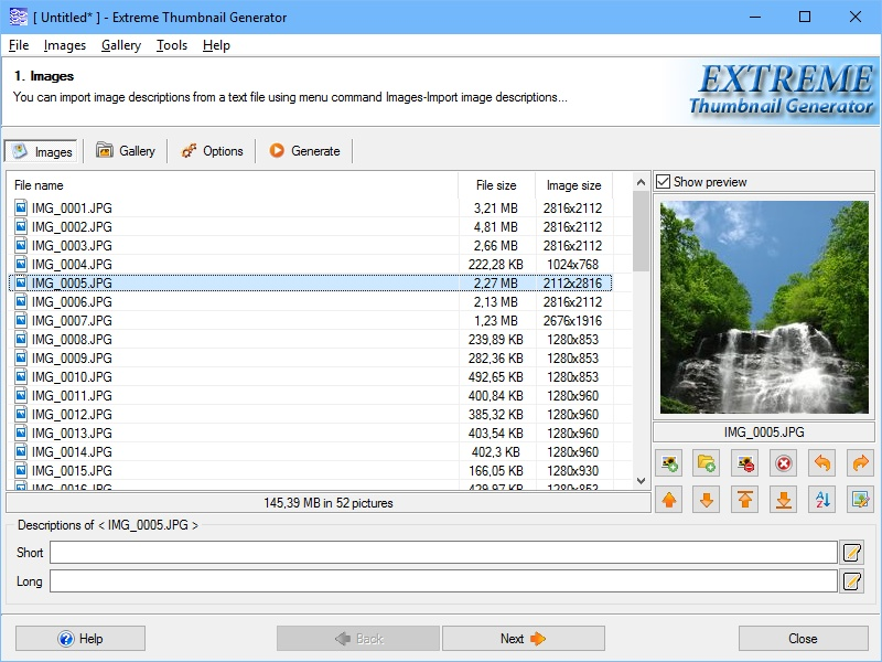 Click to view Extreme Thumbnail Generator 1.12 screenshot