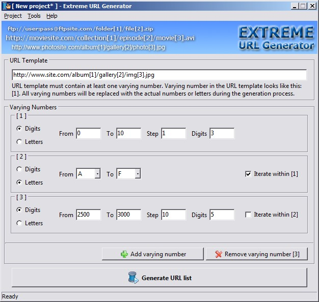 Click to view Extreme URL Generator 1.3 screenshot